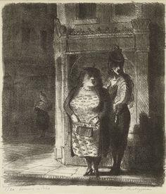 Evening in Soho - lithograph, 1956 by Edward Ardizzone Edward Ardizzone, London History, Tinta China, Chiaroscuro, Children's Book Illustration, Soho, Art Reference, Comic Art, Art Drawings