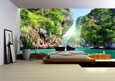 Wall Murals Bring Amazing Ambiance at Home 3d Wallpaper For Room, 3d Wall Murals, Wall Art, Tapis Design, Garage Art, Concept Home, Home Interior Design, Interior Designing, Interior Ideas