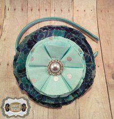 Shabby Chic Handmade Oversize Navy Seafoam by CountryQTBowtique
