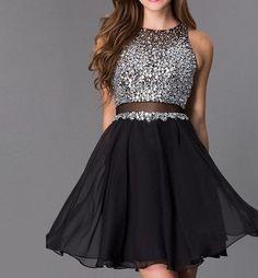 2016 Short Illusion Black Homecoming Dress ,Beading Chiffon Prom Dress,Tulle…