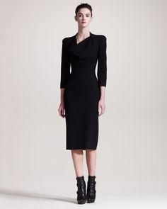 Alexander Mcqueen Cowlneck Dress in Black - Lyst