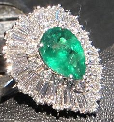 Emerald and Diamond Ballerina Ring | eBay