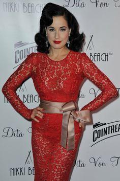 b12d4437255e Dita Von Teese in Dolce   Gabbana red dress Dita Von Teese Burlesque