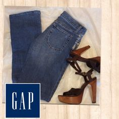 """GAP bootleg jeans. Great fit! Sexy bootleg jeans are a natural with heels! These have a lighter wash with slight distressing and lightening on front pocket (part of the unique design). Measure 32"""" waist, 7.25"""" rise, 32"""" inseam. Excellent condition, worn 1 time. Smoke free home. GAP Jeans Boot Cut"""