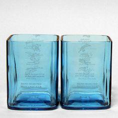 Bombay Sapphire Rocks Glass Set by BottleHood (recycled glass) Bombay Sapphire Gin, Blue Sapphire, Gin Bottles, Glass Bottles, Empty Bottles, Glass Bottle Crafts, Recycled Bottles, Recycled Glass, Modern Love