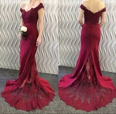 2017 New Arrival Burgundy Prom Dress,Off The Shoulder Evening Dress,Lace See Through Prom Dress