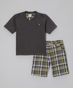 This Gray Tee & Plaid Shorts - Toddler & Boys by Longstreet is perfect! #zulilyfinds