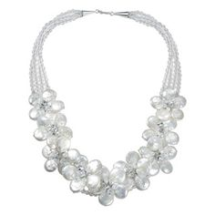 Jewelry Necklaces Pearls Sterling Silver 5-5.5mm FW Cultured Pearl and Crystal Briolettes Neck
