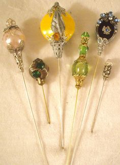 6 Antique style hat pins with vintage and ♥ by MarysForeverMemories