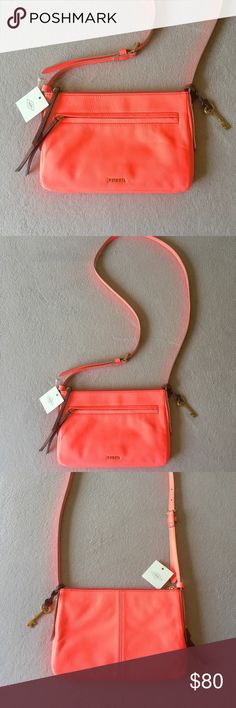"🗝Fossil Small Neon Coral Jenna Crossbody Purse🗝 Fossil Small Neon Coral Jenna Crossbody Purse. 50"" leather Crossbody strap, zip close top, 1 exterior zip pocket & 1 interior zip pocket. True color is hard to photograph, closest to color in last picture! NWT! Measurements: L 10"" x H 7"" x W 1"" Fossil Bags Crossbody Bags"