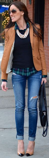 Fall Fashion Style With J Crew Schoolboy Blazer  by Fun & Fashion Hub I really love this. From the pearls the the jacket to the flannel. Love.