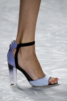 MONIQUE LHULLIER: Inspired by sunsets over the ocean, Monique Lhullier embraced shades of blush and lavender which can be seen in these eye-catching ombre lucite-heeled pumps.