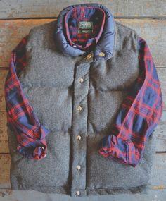 Crescent Down Works - Herringbone Pendelton Wool Italian Vest Gitman Vintage - Red Plaid Flannel
