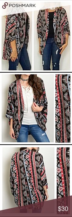 "Tribal Cardigan Kimono S M L Slip on this adorable open front  Cardi/kimono to add instant boho chic style to your outfit. Looks great with solid tank/tee & your favorite jeans or leggings. Tribal pattern in black maroon taupe & Ivory. Dolman sleeves are so fun & flirty. 100% rayon. S M L  Small Measurements B76"" W76"" L32""  Small 2/4/6 Medium 4/6/8 Large 8/10/12 Sweaters Cardigans"