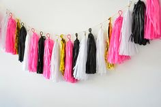 Tissue Paper Tassel Garland -kate spade inspiration - cocktail party / wedding decoration on Etsy, 118.92₪