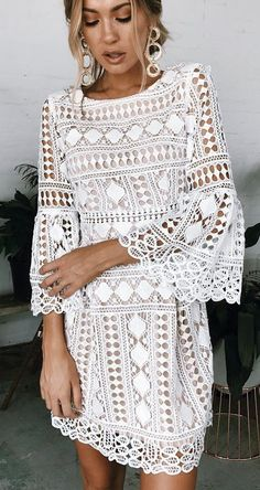 #spring #outfits  White Crochet Bell Sleeve Dress