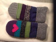"Recycled wool sweater mittens handmade ""mitten art"""