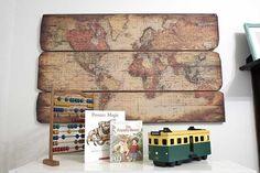 Antique world map wooden