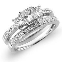 3 Stone 14K White Gold Diamond Engagement Wedding Ring Set 0.92 ctw