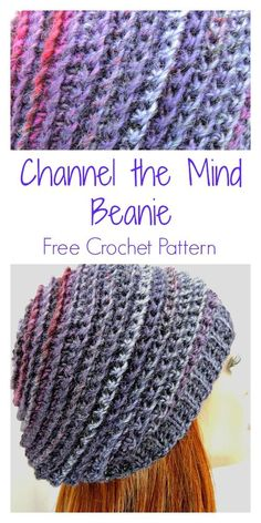 Easy Channel the Mind Beanie Free Crochet Pattern for Beginners. and easy crochet projects for beginners Easy Channel the Mind Beanie Free Crochet Pattern for Beginners Free Form Crochet, Beau Crochet, Bonnet Crochet, Crochet Simple, Crochet Beanie Pattern, Knit Crochet, Crocheted Hats, Beanie Pattern Free, Crochet Adult Hat