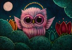 Art: TINY ANGEL OWL WITH FLOWERS IN HEAVEN by Artist Cyra R. Cancel