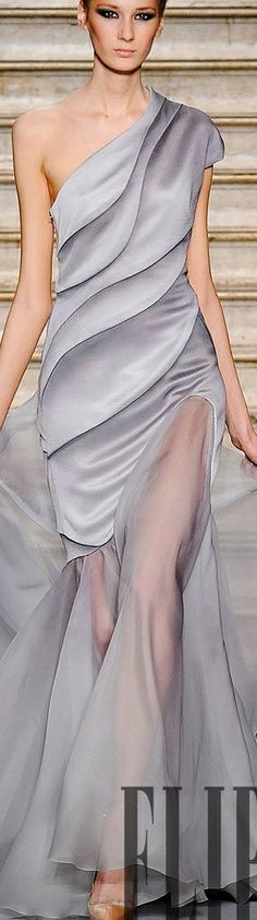 Stephane Rolland ~ 2014  I love the thigh high slit covered with sheer fabric - subtle, elegant, & sexy.