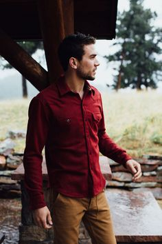 deep red wool button down. dark khaki pants. simple. essential. fall. style.