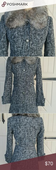 "Coat Tweed black coat 30% Wool  with 100% Fox Collar Bust 23 "" and length 37"" Express Jackets & Coats Pea Coats"