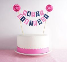 Mini Banner or Cake Bunting Pink & Navy Happy by EspeciallyPaper, $16.00