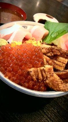 『天然ぶり焼穴子新いくら丼(並盛 980円)』♪ (アップ画像)