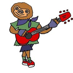 Funky Cool Sloth Playing Guitar