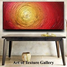 Huge Original Custom Abstract Heavy Texture Red Gold Copper Carved Oil Painting by Je Hlobik