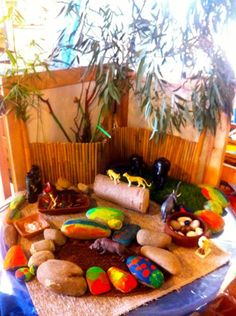 Paint rocks & add to the dramatic play area.  I am going to do this for the block area!