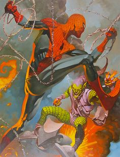 Spider-Man and Green Goblin Art by Chris Stevens — GeekTyrant Comic Book Characters, Comic Book Heroes, Marvel Characters, Comic Character, Comic Books Art, Comic Art, Hq Marvel, Marvel Comics Art, Marvel Heroes