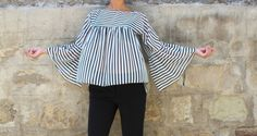 Black and White Maxi Top Striped Maxi Tunic Maxi Chiffon