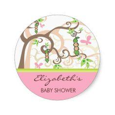fatfatin Twin Girls Peas In A Pod Baby Shower Round Stickers