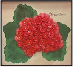 Geranium Button Art