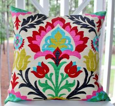Decorative Pillow Cover - Desert Flower - Modern Red Pink Turquoise Pillow - Bright Color Throw Pillow - 16 x 16. $38.00, via Etsy.