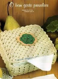 Resultado de imagem para porta guardanapo de crochê Crochet Box, Love Crochet, Filet Crochet, Crochet Crafts, Crochet Flowers, Sewing Patterns, Crochet Patterns, Crochet Kitchen, Crochet Tablecloth