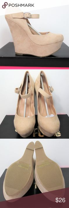 """NEW! Nude Vegan Suede Ankle Strap Platform Wedges New in box- never worn! Go with Everything neutral, beautiful beige wedges. All man made materials. Silver tone buckle. 2"""" platform. 5"""" wedge heel. Charlotte Russe Shoes Wedges"""