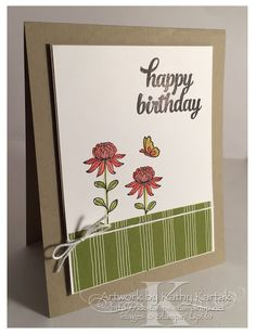 """A Flowering Birthday (Take One) is made with Stampin' Up's """"Flowering Fields"""" and """"Tin of Cards"""" stamp sets."""