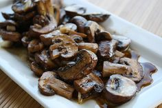 Sauteed Mushrooms Recipe Side Dishes with butter, olive oil, balsamic vinegar, garlic cloves, oregano, button mushrooms