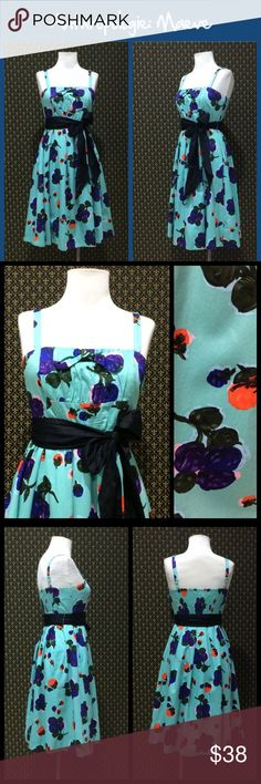 """Anthro """"Campo De Fiori Dress"""" by Maeve Excellent condition old school Anthro, removable belt sash.  Approx 40"""" length and 14"""" across a high (almost empire) waistline.  **  Prices are as listed- Nonnegotiable.  I'm happy to bundle to save shipping costs, but there are no additional discounts.  No trades, paypal or condescending terms of endearment  ** Anthropologie Dresses"""