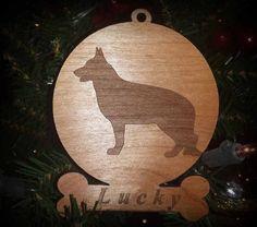 Christmas Ornament, German Shepherd Ornament, Pet Ornament Christmas / Holiday Ornament with Customized Name, Engraved