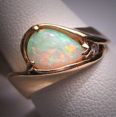Vintage Australian Opal Diamond Ring Estate Wedding 14K