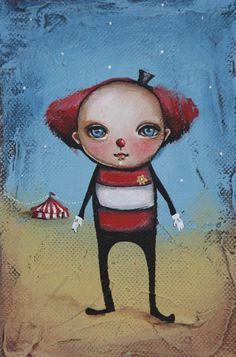 """""""Cute Clown"""" Acrylic on canvas SOLD"""