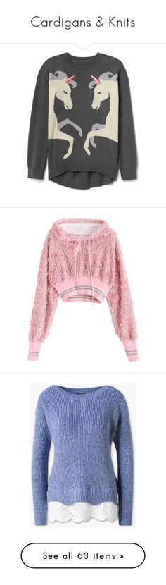 """""""Cardigans & Knits"""" by halcyon-heart ❤ liked on Polyvore featuring tops, sweaters, shirts, intarsia sweaters, shirt top, unicorn top, unicorn sweater, unicorn print shirt, hoodies and zaful"""