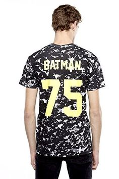 """Crew Neck Batman T-Shirt Back Number """"75"""" Eleven Paris Life is a Joke Mens Collection Regular Fit - True to size. Our Fit Model Wears a Size M and is 6' tall"""
