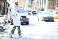 Below-Freezing NYC Street Style That's Still Fire #refinery29  http://www.refinery29.com/2015/02/82279/new-york-fashion-week-2015-street-style-pictures#slide-45  We're liking Natalie Joos' color story. Giulietta pants....