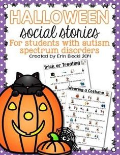 Free Halloween Social Stories from Creating and Teaching plus there are trick or treat cards for individuals who have difficulty verbally saying trick or treat!